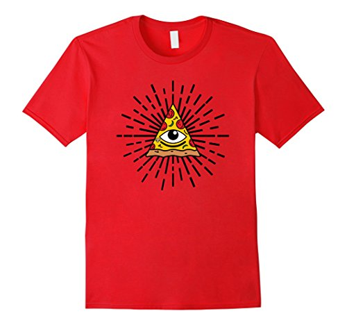 Pizza Time Invites (Mens Pizza Illuminati Symbol Shirt Eye of Providence T-shirt Small Red)
