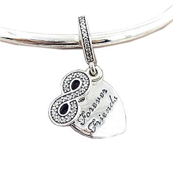 618fff7326e9 cooltaste Otoño Forever Friends charms con plata de ley 925 Zirconia ...