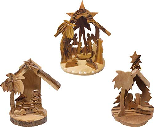 Logos Trading Post Holy Land Olive Wood Nativity Scene, 3D Christmas Grotto Ornament - Value Pack of All 3 Ornaments - Small, Medium, and Large (Grotto Nativity)