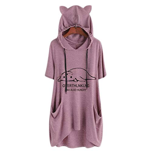 Toimothcn Women Cute Cat Ear Hooded Tops Plus Size Print Short Sleeves Pocket T Shirt Dress(Pink,XL) -
