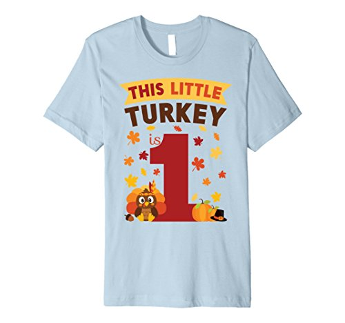 Mens This Little Turkey Is 1 Year Old Birthday Thanksgiving Shirt 2XL Baby Blue