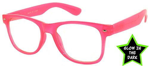 Womens Retro 80's Classic Vintage Clear Lens Sunglasses Baby Pink Frame OWL
