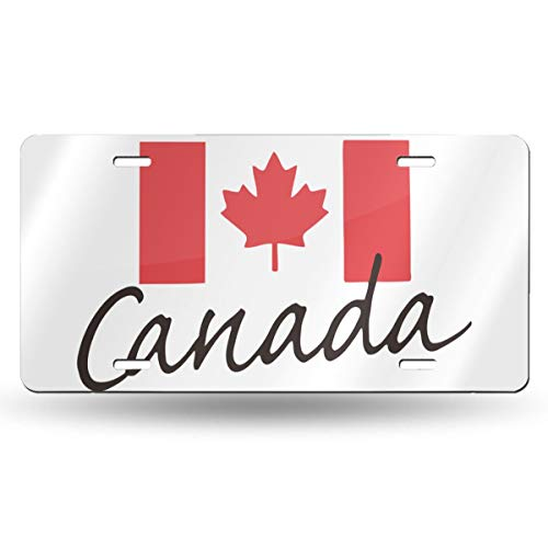 Car License Plate Frame Canada Flag Maple Leaf Flag Metal Covers for Front Wall Ride Moped Truck Tag Signs SUV Bar Decorative 6