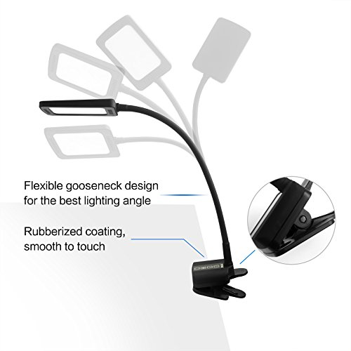 TROND Halo C Task Lamp, Eye-Care LED Clamp Table Light (11W, 5 Adjustable Color Temperatures, 5-Level Dimmer, 30-Minute Timer, USB Charging Port, Flexible Gooseneck, Flicker-Free), Black by TROND (Image #3)