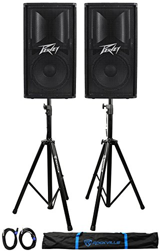 (2) Peavey PV112 12'' 1600w Live Sound Speakers+2) Stands+2) Cables+Carry Case by Peavey
