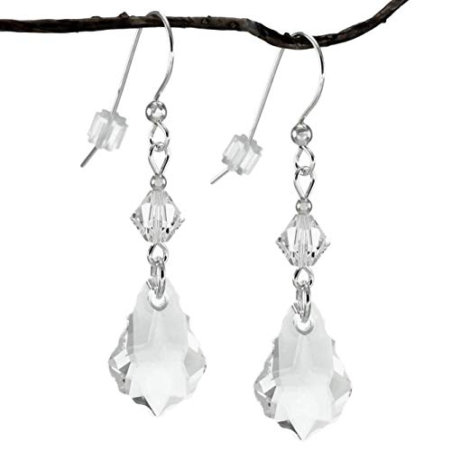 Swarovski Crystal Clear Baroque and Bicone Sterling Silver Earrings