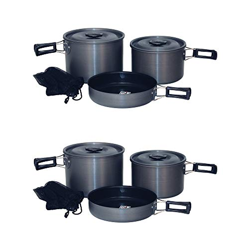 (Texsport 13414 Trailblazer Black Ice Hard Anodized Camping Cookware Pans Set (2 Pack))