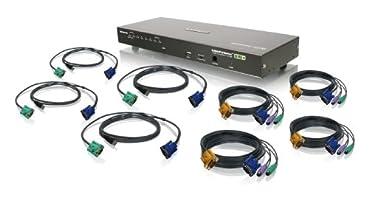 IOGEAR 8-Port USB PS/2 Combo VGA KVMP Switch with Cables, GCS1808KIT