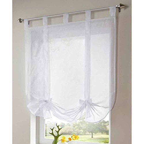 Drapery Blend Fabric (AiFish 1 Piece Tie-Up Roman Curtains Adjustable Ballon Shades Tab Top Sheer Kitchen Balcony Window Curtain Voile Valance Drape Drapery Panels for Bed Room Decor Decorative)