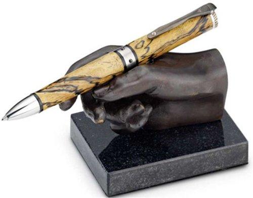 Bey-Berk R21H Bronzed Finished Hand Pen Holder on Black Marble Base,