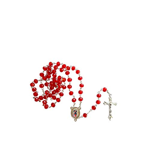 Gifts by Lulee, LLC Our Lady Untier of Knots Maria Desatanudos Red Quartz Faceted Rondelle 8mm Beads Rosary with Silver Plated Centerpiece and Crucifix Includes a Prayer Card