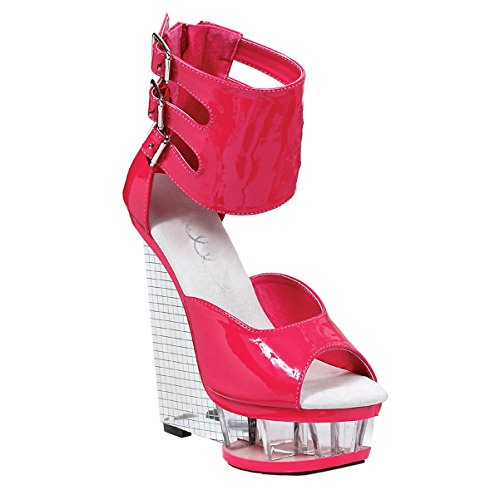 Summitfashions Shining Silver Mirror Ball 6 Inch Wedge Heels with Hot Pink Patent Ankle Cuff