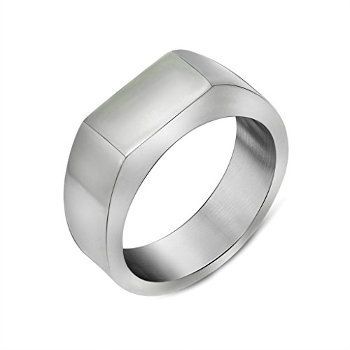 Epinki Men's Stainless Steel Ring Vintage Retro Classical Simple Design Band Ring Silver Size 11