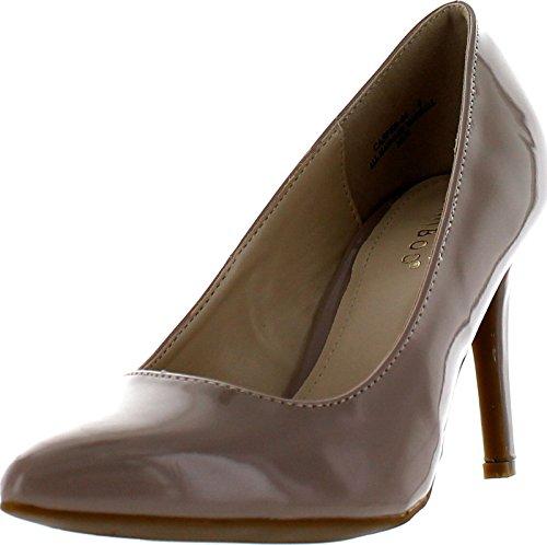 Bamboo Womens Casper-04 Dress Heels Pumps Shoes Nude Patent wNehNsRT