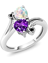 a25dff55f91 1.43 Ct Heart Shape Amethyst White Simulated Opal 10K White Gold Diamond  Ring (Available 5