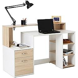 HOMCOM 55'' Multi-Shelf Dorm and Home Office Computer Desk - Oak/White