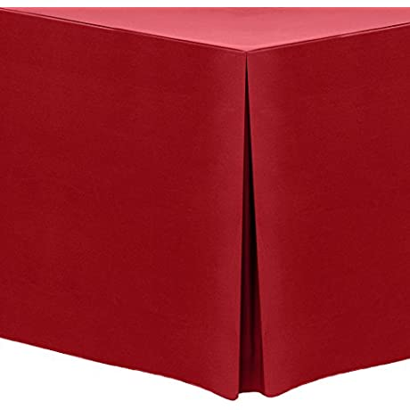 Ultimate Textile 3 Pack 6 Ft Fitted Polyester Tablecloth For 30 X 72 Inch Banquet And Folding Tables Holiday Red