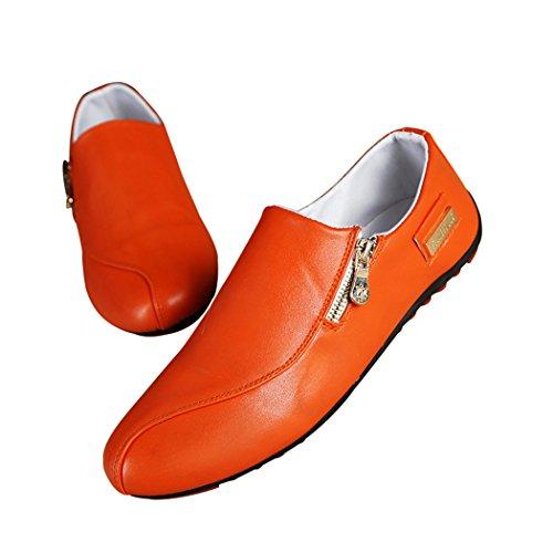 Sun Lorence Men Leisure Lazy Shoes Flat Leather Slip On Breathable Loafer Shoes Orange I7FrGjiDm