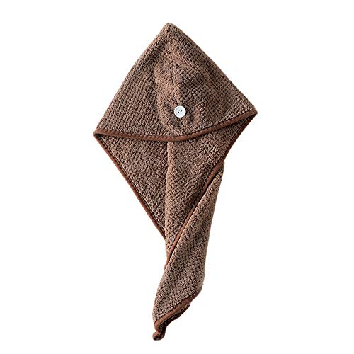 Hair Dry Towel Cap Twist Hair Turban Wrap for Women Girls, Iuhan Hair Drying Towel Twist Women's Soft Shower Microfiber Towels for Hair Turban Wrap Fast Drying Ultra Absorbent Cap Great Gift (Coffee)