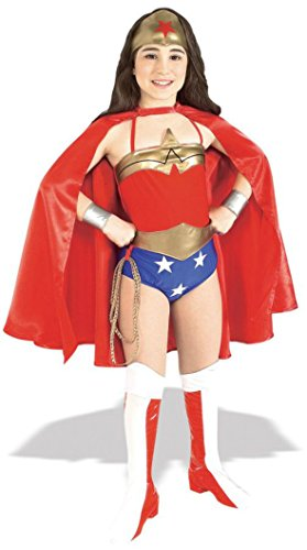 Girls Wonder Woman Deluxe Kids Child Fancy Dress Party Halloween Costume, M (8-10) (M Party Costumes)