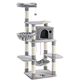 FEANDREA 63.8 inches Sturdy Cat Tree with Feeding Bowl, Cat Condos with Sisal Poles, Hammock and Cave, Padded Platform, Climbing Tree for Cats, Extra Large, Anti-toppling Devices