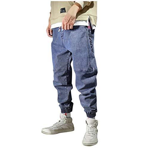 Mwzzpenpenpen Men's Casual Fashion Splice Loose Plus Size Trousers Elastic Waist Haren Jeans Straight Stretch Pants