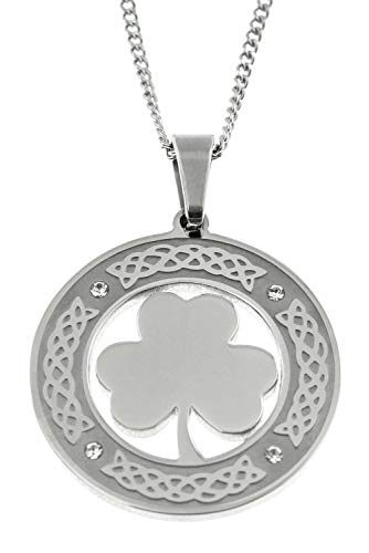 (Joyful Sentiments Celtic Jewelry Stainless Steel Round Shamrock Pendant Necklace With Clear Crystal Stones)
