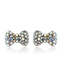 JewelCool Crystal Like Bow Tie Stud Earrings with Surgical Steel Posts
