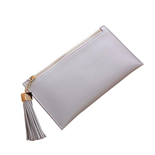 MNtech Women Fashion Long Wallet Zipper Tassel Pendant Coin Purse Card Holders Handbag (Gray)