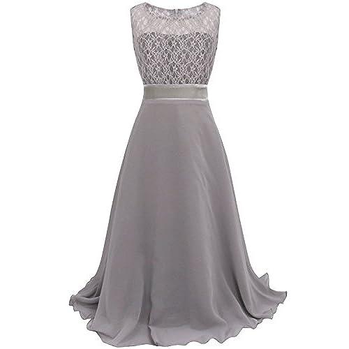YiZYiF Girls Kids Floral Lace Maxi Long Pageant Wedding Formal Chiffon Dress Gray 8