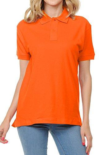 (FRESH TEE Women's Adult Unisex 100% Cotton Classic Fit Polo Shirt Short Sleeve for Daily Work School Uniform (X-Large, Orange))