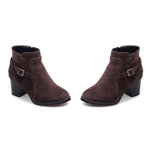 Kitten Brown Closed Suede Heels Toe Boots Round AgooLar Women's Imitated Solid Zipper qSCwnx0PI