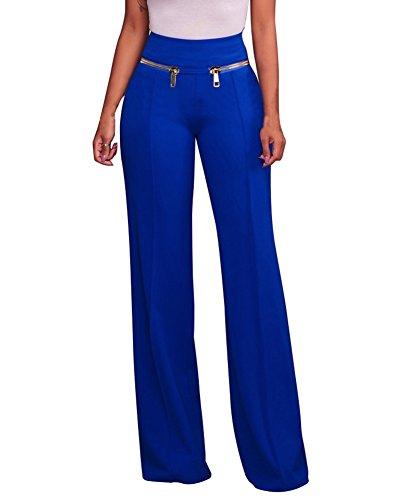 Lungo Alta Vita Con Pantaloni Palazzo Donna Elegante Blu Cerniera A Pantalone Lungo wR8qWAX6x