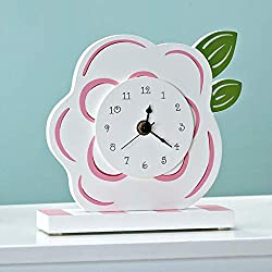 XQY Home Living Room Wall Clock, Bedside Clock-European Creative Flower Design Table Clock Silent Non-Ticking Children's Bedroom Quartz Movement Battery Operated High Density Board,Easy to Read Numbe