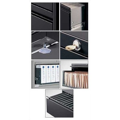 Global Office 9300P 5 Drawer Lateral Metal File Storage Cabinet with Full Length Pulls – Desert Putty