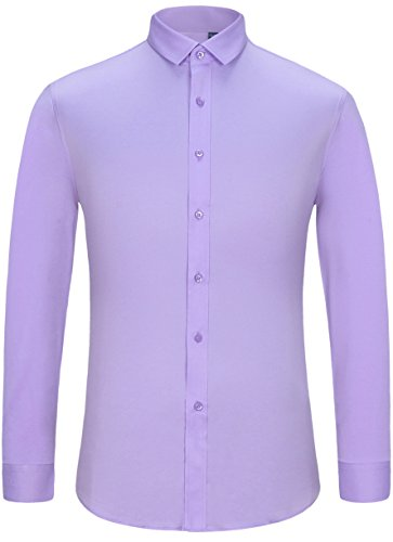 J.Ver Men's Poplin Fitted Elastic Regular Fit Solid Color Long Sleeve Dress Shirts (Color B12808 Light Purple,Size: 17.5