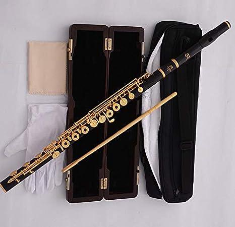 Estuche de madera chapado en oro de ébano profesional con agujero abierto en forma de flauta en forma de B: Amazon.es: Instrumentos musicales