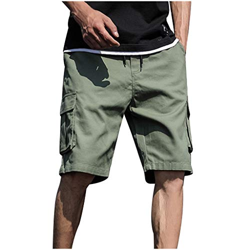 Shorts for Men, F_Gotal Men's Plus Size Casual Patchwork Overall Drawstring Elastic Waist Sports Pants Shorts Sweatpants Army Green