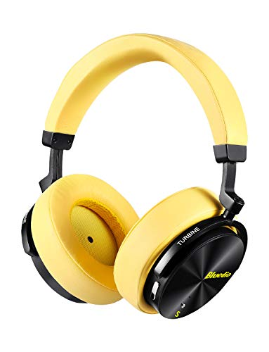 Bluedio T5S Bluetooth Headphones Over Ear with Mic, Active Noise Cancelling Headphones 57mm Drivers Wireless Headsets for Travel Work TV PC Cellphone, 25 Hours Playtime(Yellow)