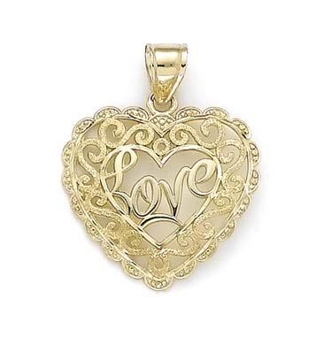 Laser 14 carats Cœur en filigrane JewelryWeb taille diamant pendentif