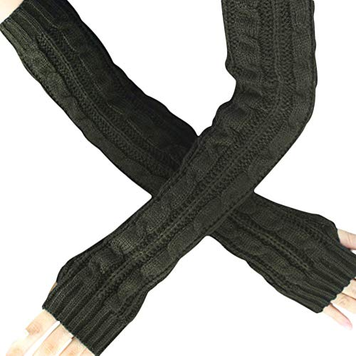 Quelife Hemp Flowers Fingerless Knitted Long Gloves Twist half finger gloves