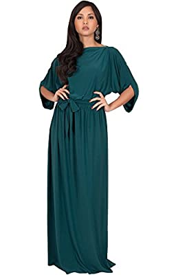 KOH KOH Womens Long Flowy Formal Batwing Sleeve Evening Casual Gown Maxi Dress