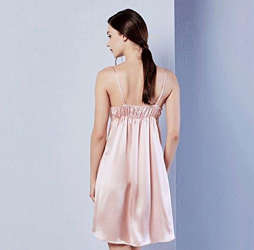 0 táctil Princesa de verano bordado seda arnés pijama ( Color : Pink , Tamaño : L ) Pink