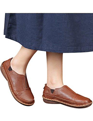 Youlee Damen Frühling Handarbeit Lederschuhe Loafer Flache Schuhe Braun