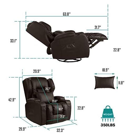 Living Room BINGTOO Recliner Chair- Swivel Rocker Recliner Chair- Ergonomic Manual Glider Rocking Recliner Chair Sofa Home Theater…