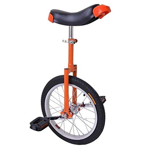 16'' Wheel Orange & Black Adjustable Height Unicycle Balance Exercise by FDInspiration