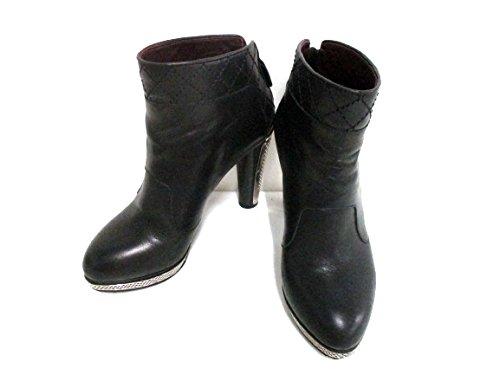 (シャネル) CHANEL ブーツ ショートブーツ レディース 黒×シルバー 【中古】 B07F14FS46  -