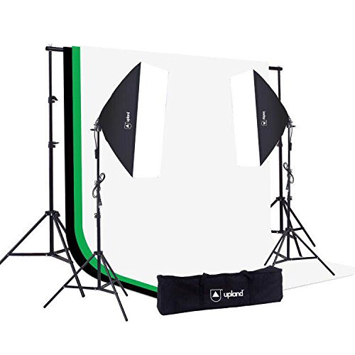 Upland Softbox Lighting Kit for Photo, Photography and Video Studio, 2 Softbox (20×28″) + Backdrop Support Stand (6.6x10FT) + 3 Backdrops (6×9.2FT)