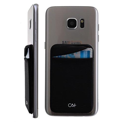 Secure RFID Blacking Lid Pocket Pouch Cell Phone Credit Card Holder 3M Stick On Wallet Case (Black)