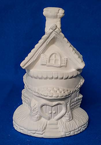 (Fairy Easter Egg Shaped House #3 with Heart Door unpainted ceramic bisque ready to be painted Village)